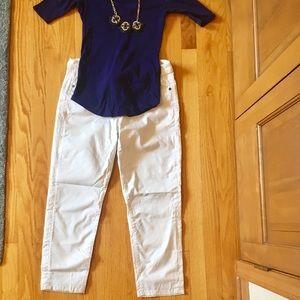 Calvin Klein white skinny crop jeans